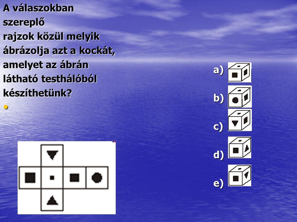 A válaszokban szereplő rajzok közül melyik ábrázolja azt a kockát, amelyet az ábrán látható testhálóból készíthetünk? a)b)c)d)e)
