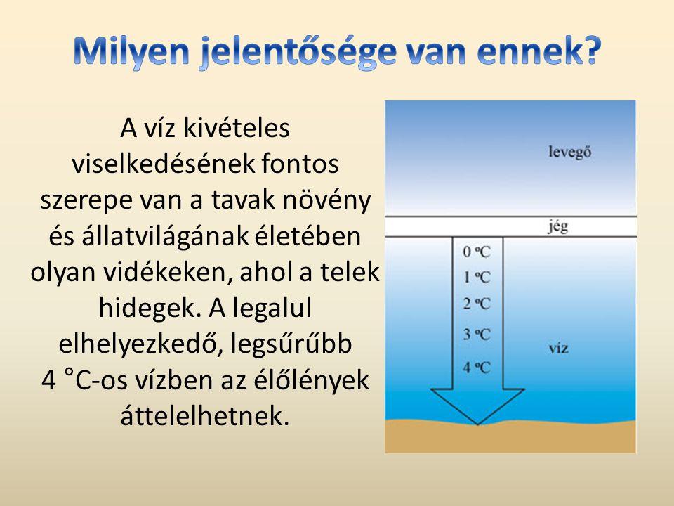 A víz kivételes viselkedésének fontos szerepe van a tavak növény és állatvilágának életében olyan vidékeken, ahol a telek hidegek.