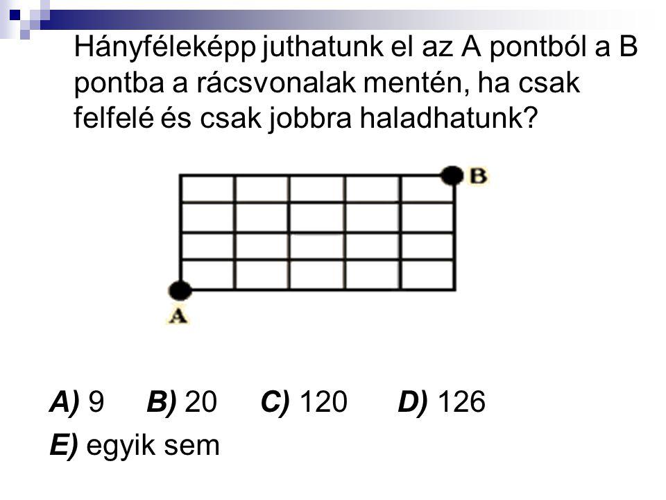 Hányféleképp juthatunk el az A pontból a B pontba a rácsvonalak mentén, ha csak felfelé és csak jobbra haladhatunk? A) 9 B) 20 C) 120 D) 126 E) egyik