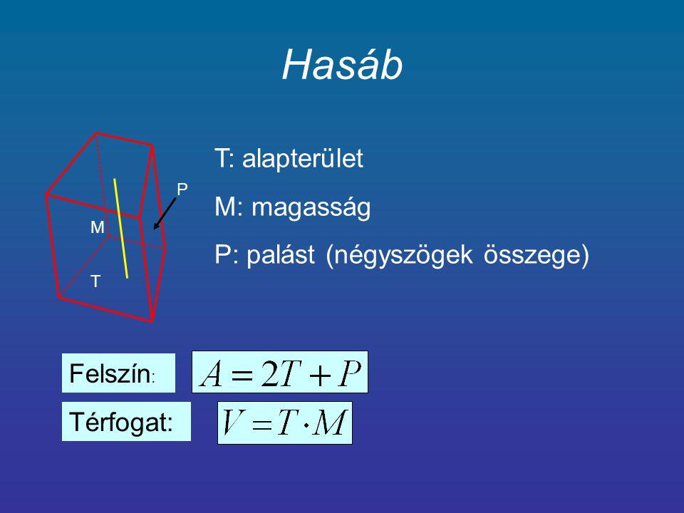 Henger M r r T T: alapterület M: magasság P: palást (téglalap, paralelogramma) Felszín : Térfogat: