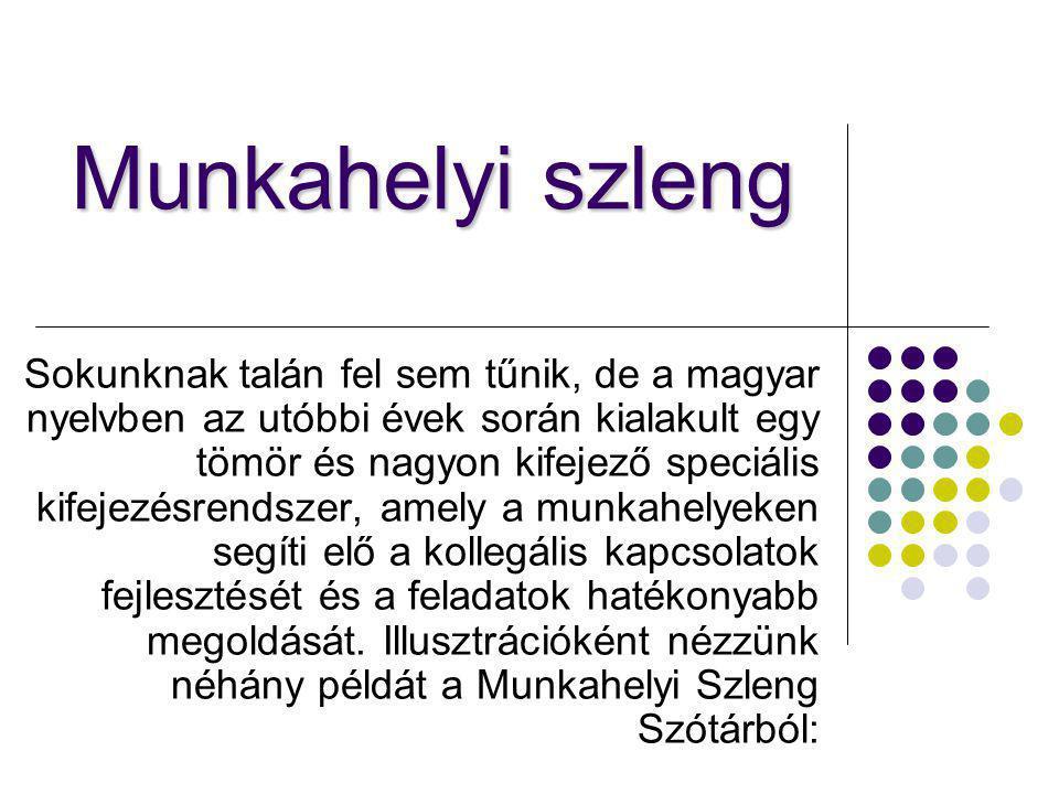 Munkahelyi szleng Sokunknak talán fel sem tűnik, de a magyar nyelvben az utóbbi évek során kialakult egy tömör és nagyon kifejező speciális kifejezésr