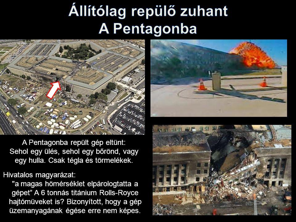 A Pentagonba repült gép eltünt: Sehol egy ülés, sehol egy bőrönd, vagy egy hulla.