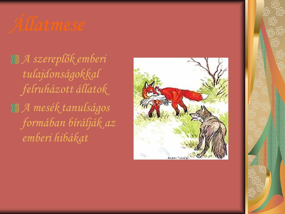 Állatmese A szereplők emberi tulajdonságokkal felruházott állatok A mesék tanulságos formában bírálják az emberi hibákat