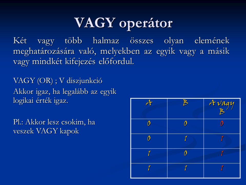 VAGY operátor Két vagy több halmaz összes olyan elemének meghatározására való, melyekben az egyik vagy a másik vagy mindkét kifejezés előfordul. VAGY