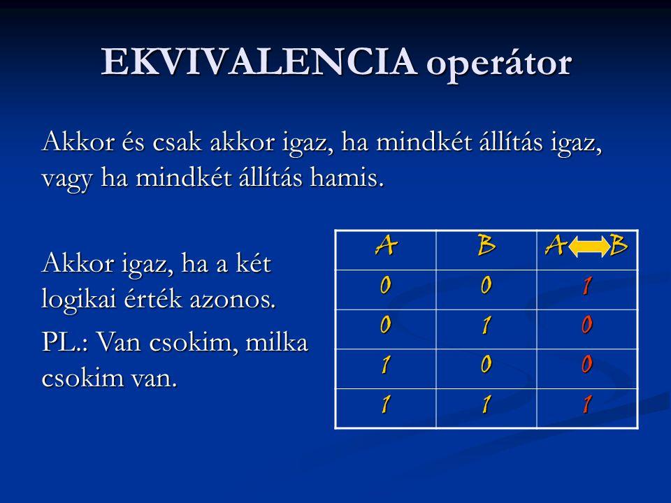 EKVIVALENCIA operátor Akkor és csak akkor igaz, ha mindkét állítás igaz, vagy ha mindkét állítás hamis. Akkor igaz, ha a két logikai érték azonos. PL.