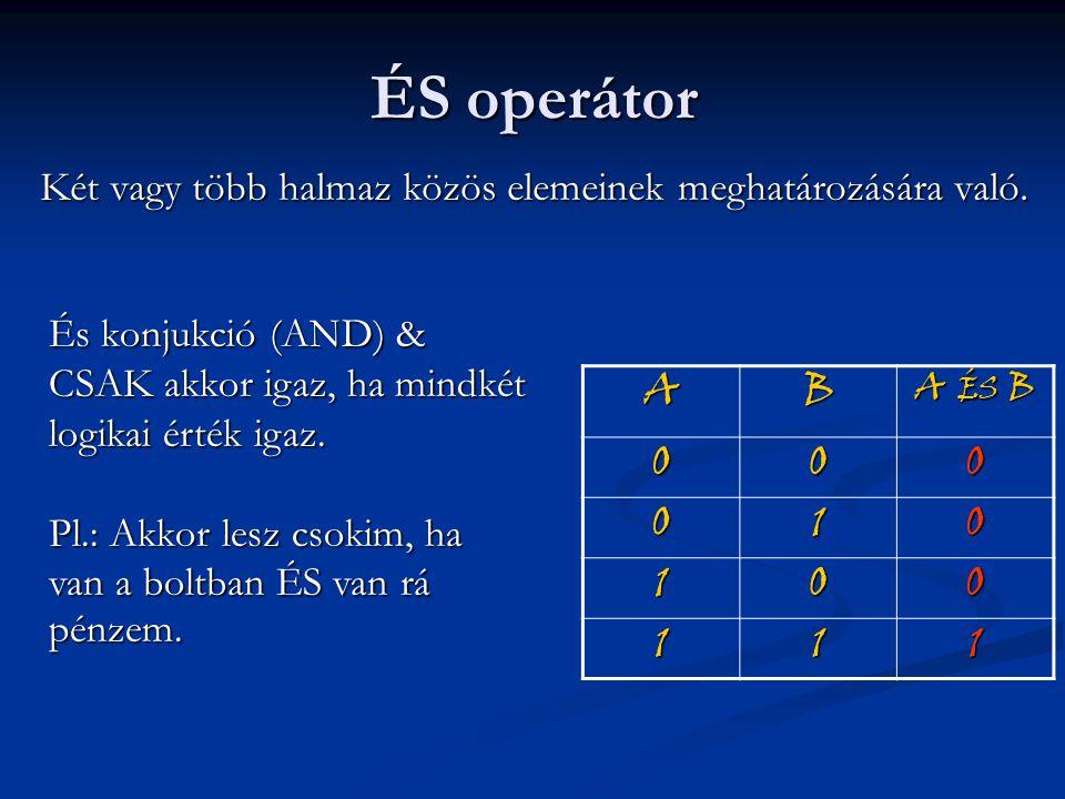 ÉS operátor Két vagy több halmaz közös elemeinek meghatározására való. AB A ÉS B 000 010 100 111 És konjukció (AND) & CSAK akkor igaz, ha mindkét logi