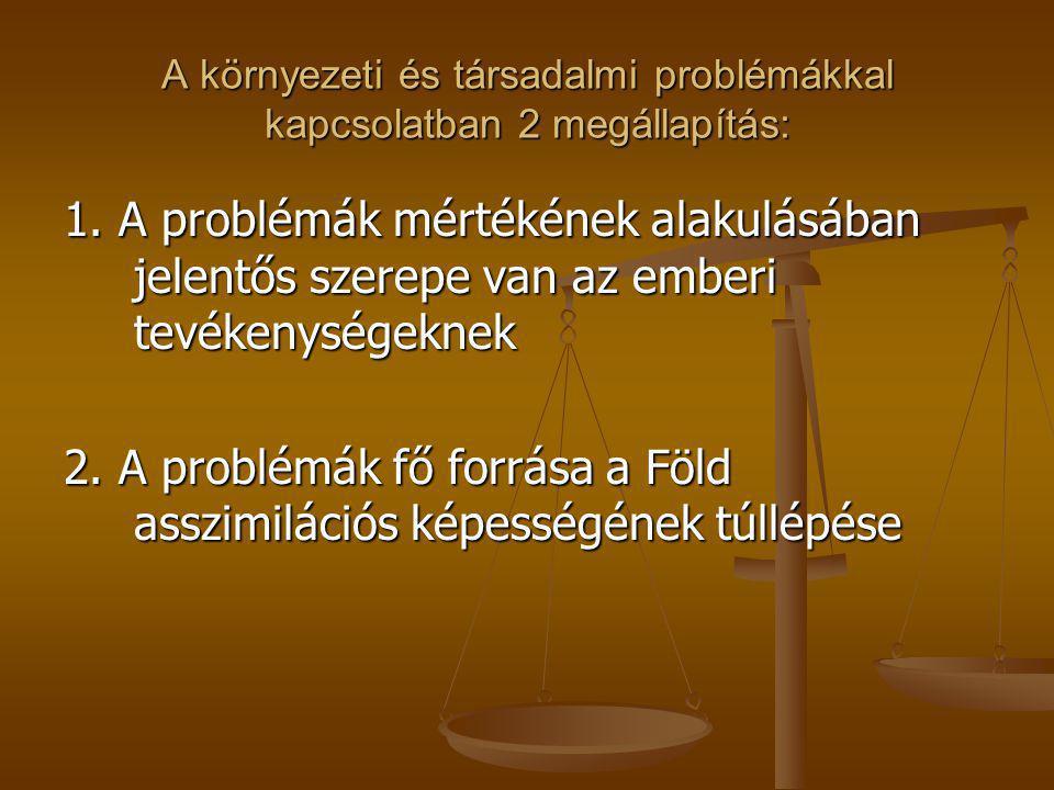 A környezeti és társadalmi problémákkal kapcsolatban 2 megállapítás: 1. A problémák mértékének alakulásában jelentős szerepe van az emberi tevékenység