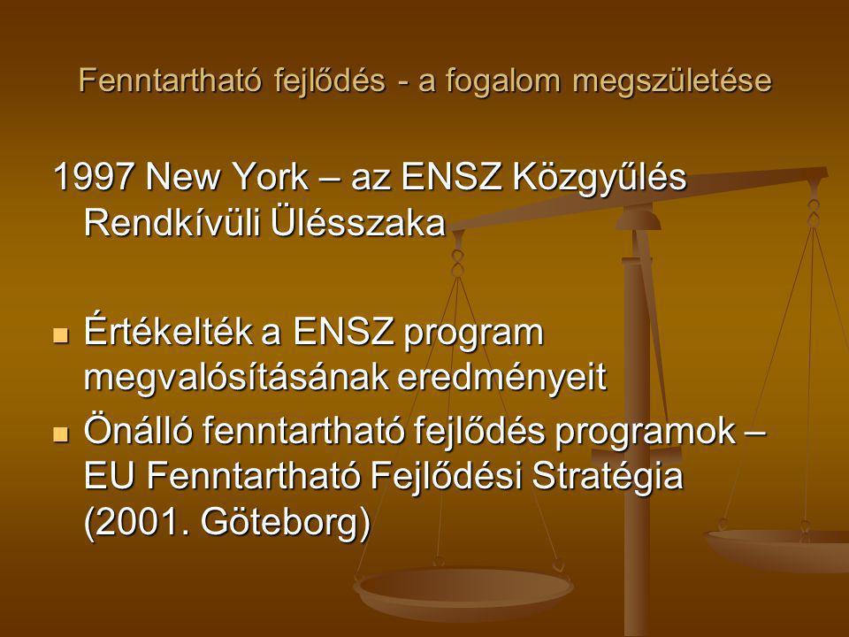 Fenntartható fejlődés - a fogalom megszületése 1997 New York – az ENSZ Közgyűlés Rendkívüli Ülésszaka Értékelték a ENSZ program megvalósításának eredm