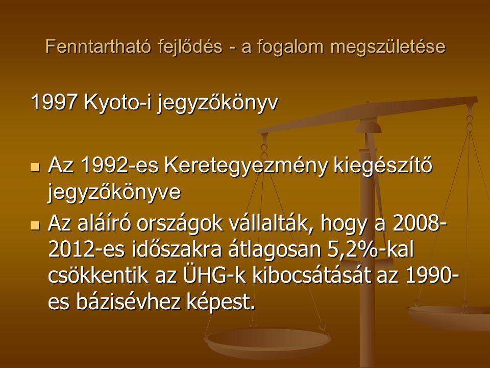 Fenntartható fejlődés - a fogalom megszületése 1997 Kyoto-i jegyzőkönyv Az 1992-es Keretegyezmény kiegészítő jegyzőkönyve Az 1992-es Keretegyezmény ki