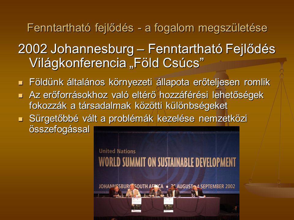 """Fenntartható fejlődés - a fogalom megszületése 2002 Johannesburg – Fenntartható Fejlődés Világkonferencia """"Föld Csúcs"""" Földünk általános környezeti ál"""