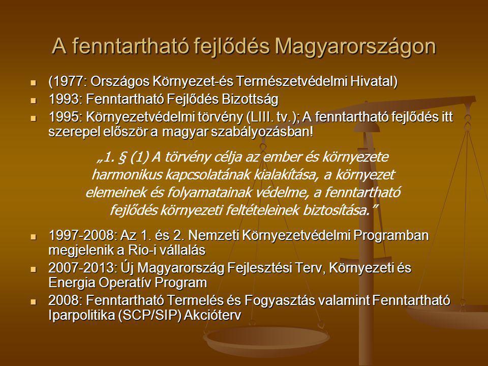 A fenntartható fejlődés Magyarországon (1977: Országos Környezet-és Természetvédelmi Hivatal) (1977: Országos Környezet-és Természetvédelmi Hivatal) 1