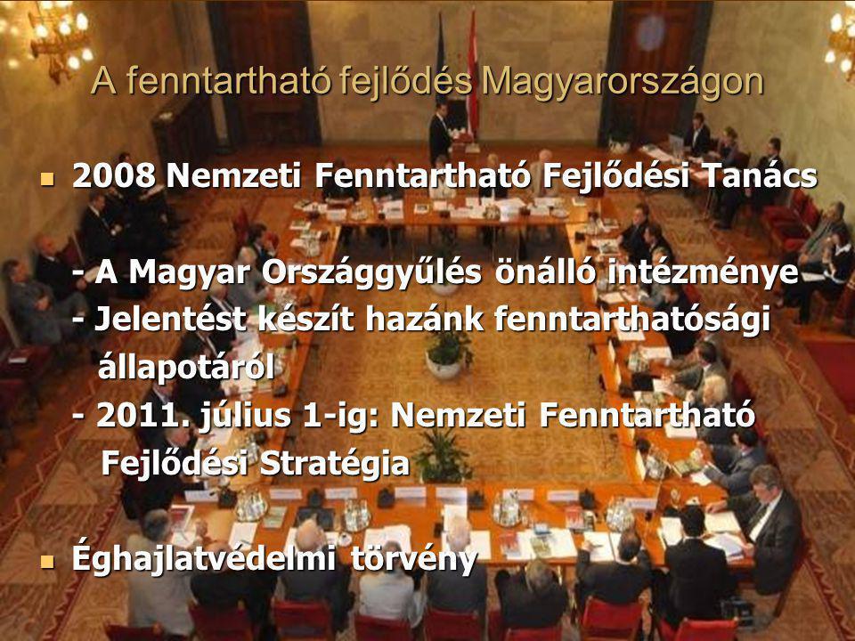 A fenntartható fejlődés Magyarországon 2008 Nemzeti Fenntartható Fejlődési Tanács 2008 Nemzeti Fenntartható Fejlődési Tanács - A Magyar Országgyűlés ö