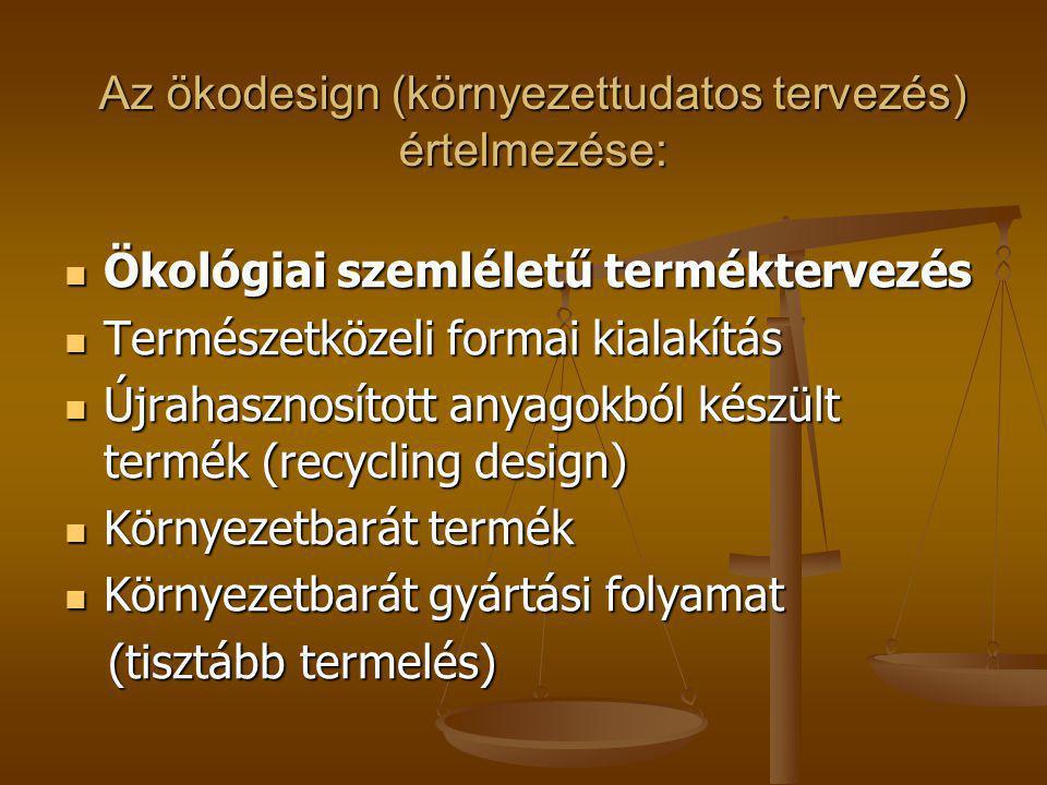Az ökodesign (környezettudatos tervezés) értelmezése: Ökológiai szemléletű terméktervezés Ökológiai szemléletű terméktervezés Természetközeli formai k
