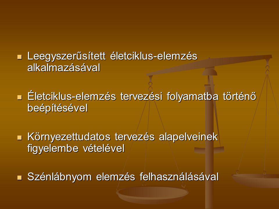 Leegyszerűsített életciklus-elemzés alkalmazásával Leegyszerűsített életciklus-elemzés alkalmazásával Életciklus-elemzés tervezési folyamatba történő