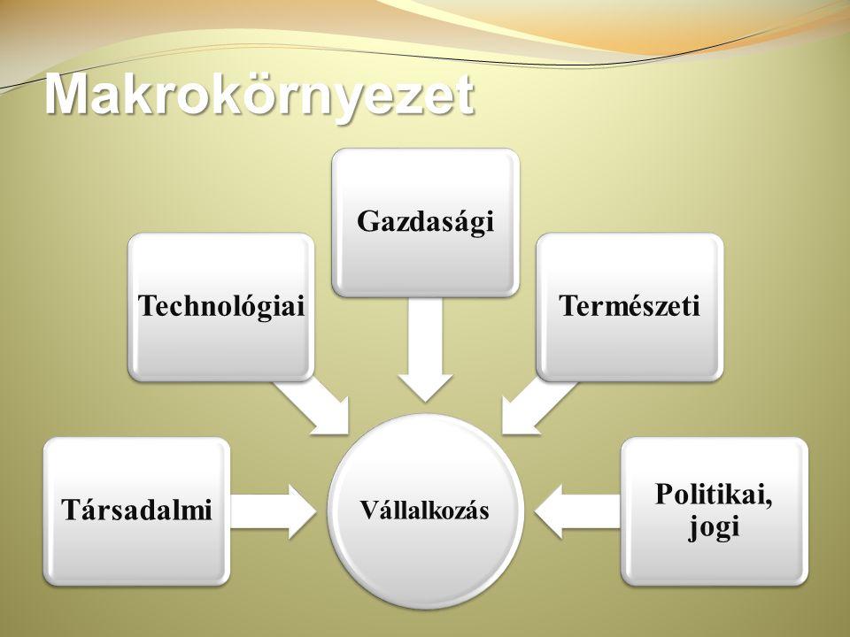 Makrokörnyezet Vállalkozás Politikai, jogi TermészetiGazdaságiTechnológiaiTársadalmi