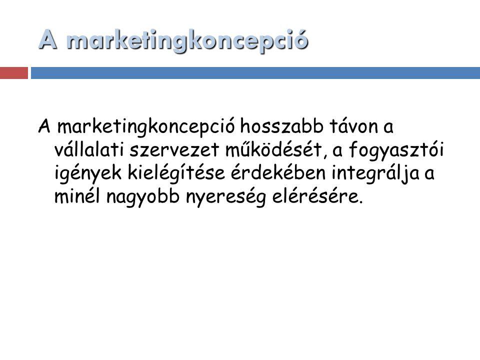 A marketingkoncepció A marketingkoncepció hosszabb távon a vállalati szervezet működését, a fogyasztói igények kielégítése érdekében integrálja a miné