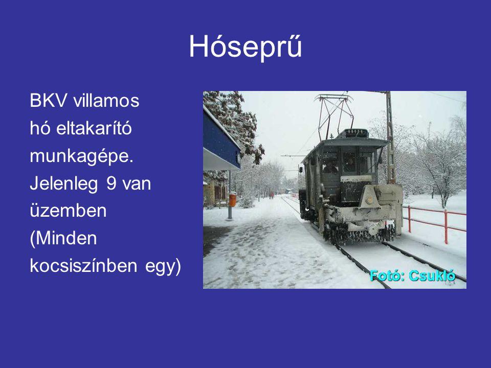 Hóseprű BKV villamos hó eltakarító munkagépe. Jelenleg 9 van üzemben (Minden kocsiszínben egy)