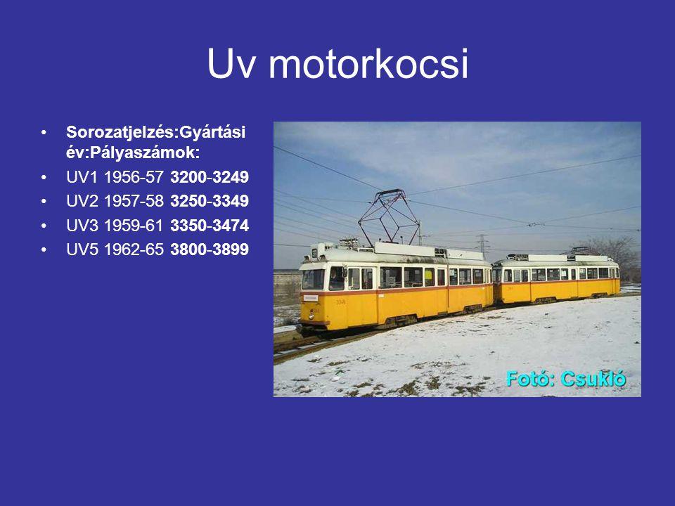 Uv motorkocsi Sorozatjelzés:Gyártási év:Pályaszámok: UV1 1956-57 3200-3249 UV2 1957-58 3250-3349 UV3 1959-61 3350-3474 UV5 1962-65 3800-3899