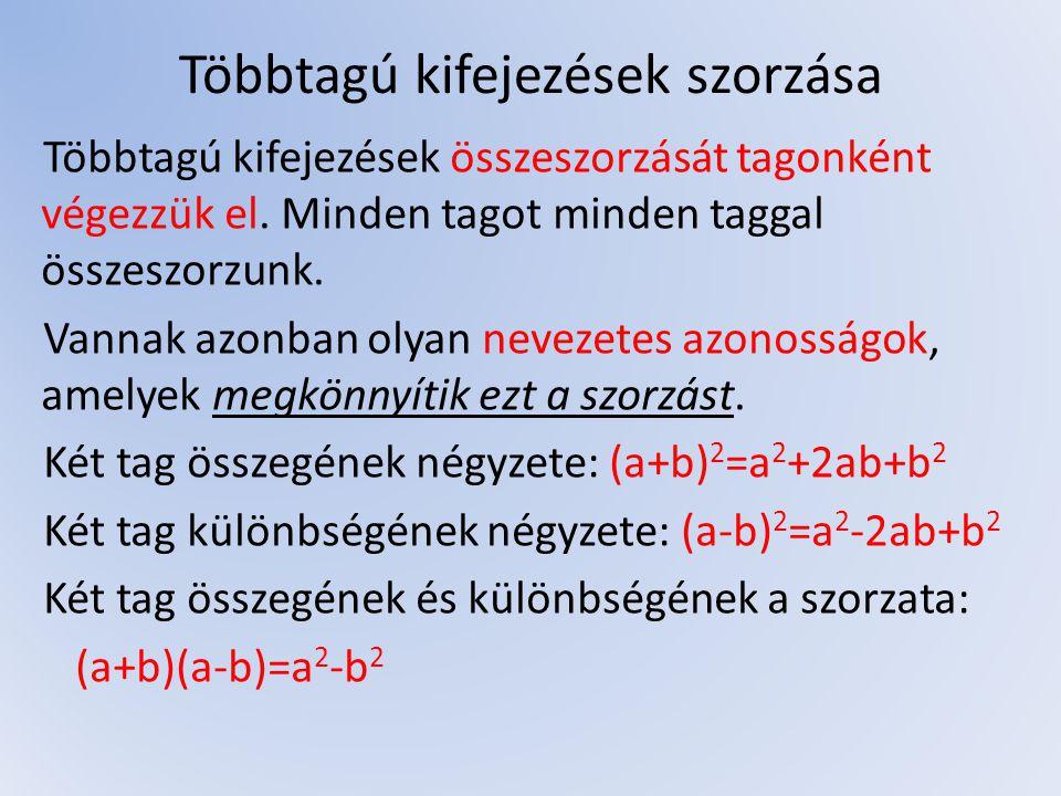 Kifejezések szorzattá alakítása Az előbb említett nevezetes azonosságok felhasználásával többtagú kifejezéseket szorzattá tudunk alakítani.