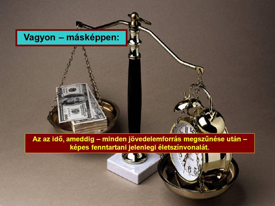 Vagyon – másképpen: Az az idő, ameddig – minden jövedelemforrás megszűnése után – képes fenntartani jelenlegi életszínvonalát.