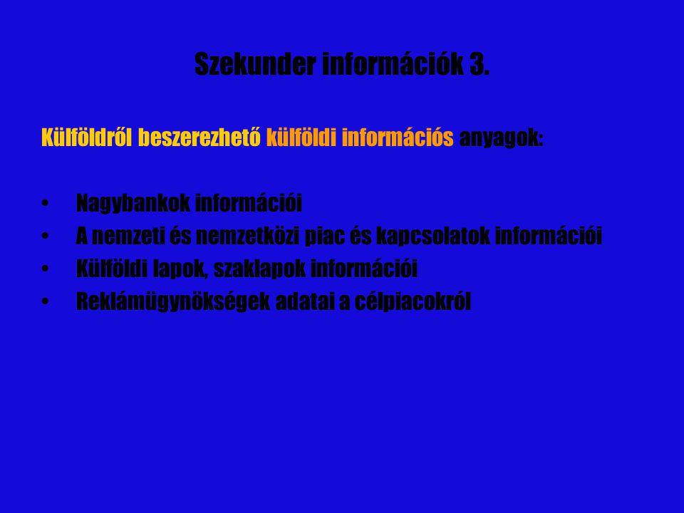 Szekunder információk 4.Vállalati belső információs anyagok.