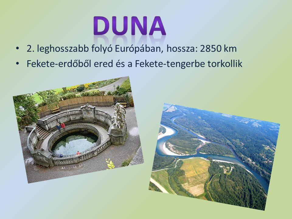 2. leghosszabb folyó Európában, hossza: 2850 km Fekete-erdőből ered és a Fekete-tengerbe torkollik