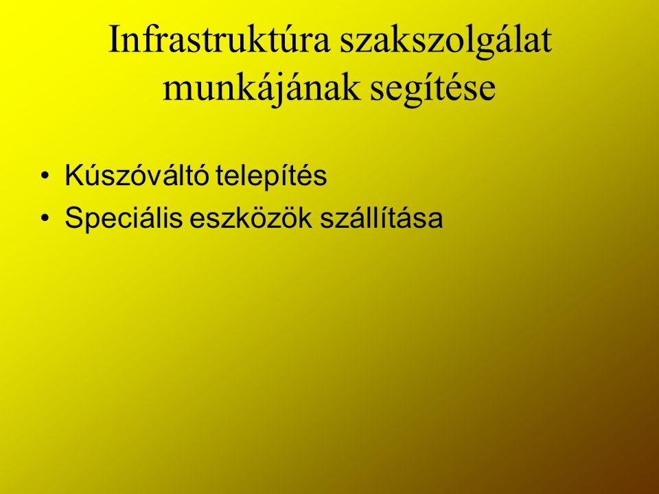 Infrastruktúra szakszolgálat munkájának segítése Kúszóváltó telepítés Speciális eszközök szállítása
