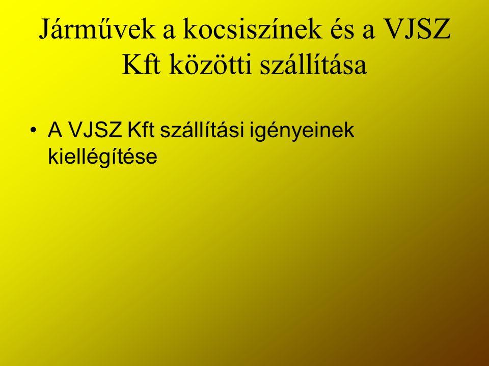 Járművek a kocsiszínek és a VJSZ Kft közötti szállítása A VJSZ Kft szállítási igényeinek kiellégítése