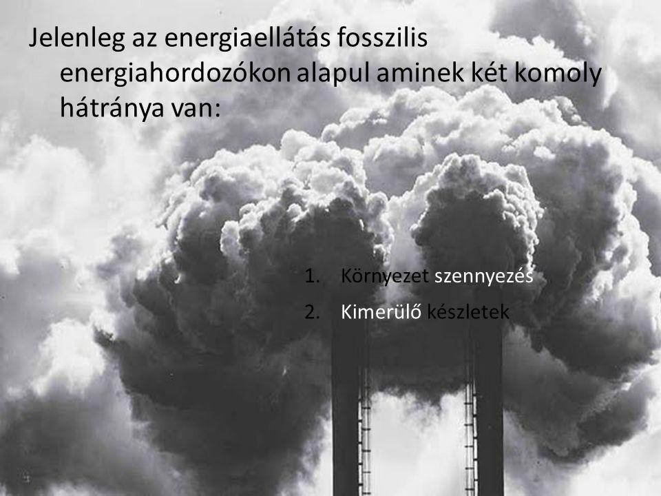 Jelenleg az energiaellátás fosszilis energiahordozókon alapul aminek két komoly hátránya van: 1. Környezet szennyezés 2. Kimerülő készletek