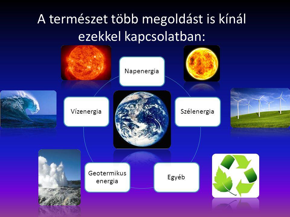 A természet több megoldást is kínál ezekkel kapcsolatban: Napenergia SzélenergiaEgyéb Geotermikus energia Vízenergia