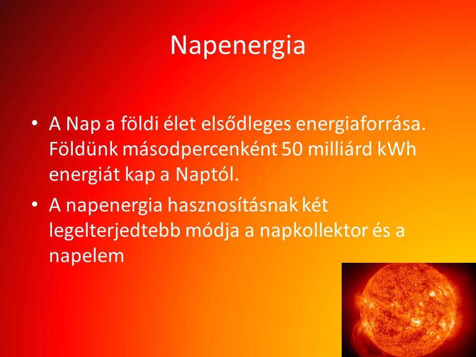 Napenergia A Nap a földi élet elsődleges energiaforrása. Földünk másodpercenként 50 milliárd kWh energiát kap a Naptól. A napenergia hasznosításnak ké
