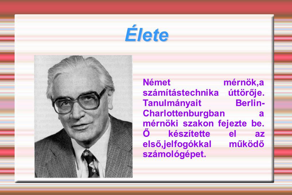 1932-ben építette meg az első mechanikus tárolót tetszőleges adatok, elsősorban lebegőpontos ábrázolású (16 bit mantissza, 7 bit kitevő, 1 bit előjel, tehát 24 bit szóhosszúságú) számok tárolására, és 1934-tõl kezdve kifejlesztette a programvezérlésű számítógépek alapelveit.