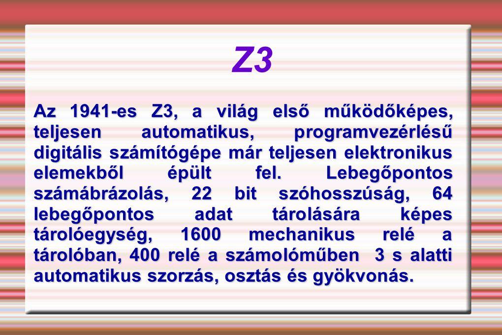 Z3 Az 1941-es Z3, a világ első működőképes, teljesen automatikus, programvezérlésű digitális számítógépe már teljesen elektronikus elemekből épült fel