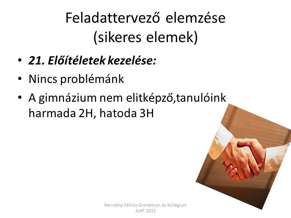 Feladattervező elemzése (sikeres elemek) 21. Előítéletek kezelése: Nincs problémánk A gimnázium nem elitképző,tanulóink harmada 2H, hatoda 3H Bercsény