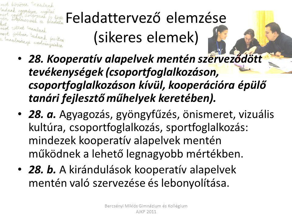 Feladattervező elemzése (sikeres elemek) 28. Kooperatív alapelvek mentén szerveződött tevékenységek (csoportfoglalkozáson, csoportfoglalkozáson kívül,
