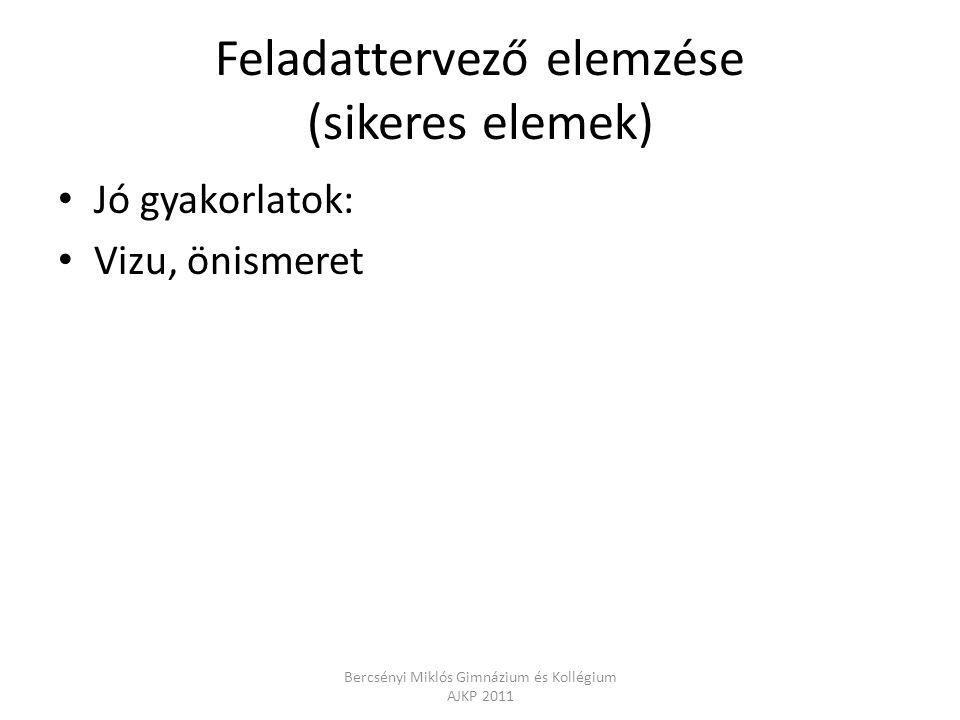 Feladattervező elemzése (sikeres elemek) Jó gyakorlatok: Vizu, önismeret Bercsényi Miklós Gimnázium és Kollégium AJKP 2011