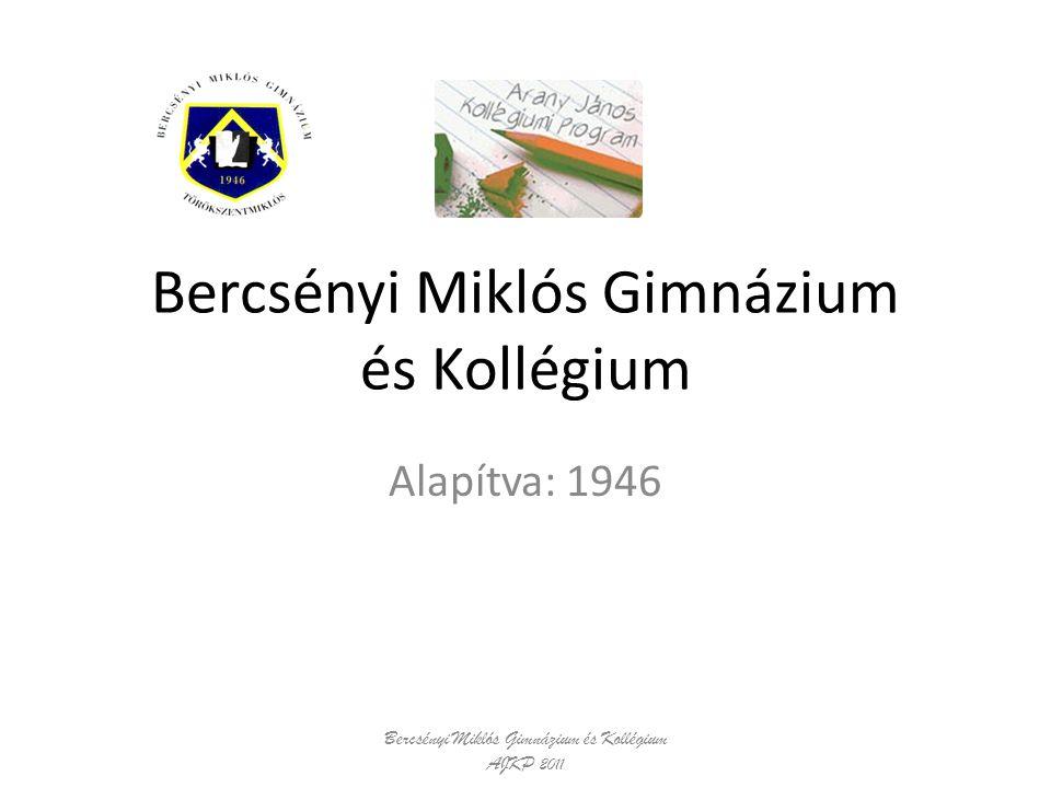 Bercsényi Miklós Gimnázium és Kollégium Alapítva: 1946 Bercsényi Miklós Gimnázium és Kollégium AJKP 2011