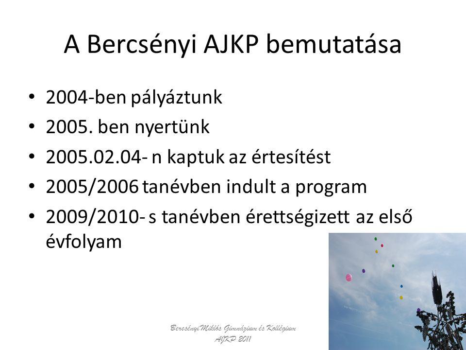 A Bercsényi AJKP bemutatása 2004-ben pályáztunk 2005. ben nyertünk 2005.02.04- n kaptuk az értesítést 2005/2006 tanévben indult a program 2009/2010- s
