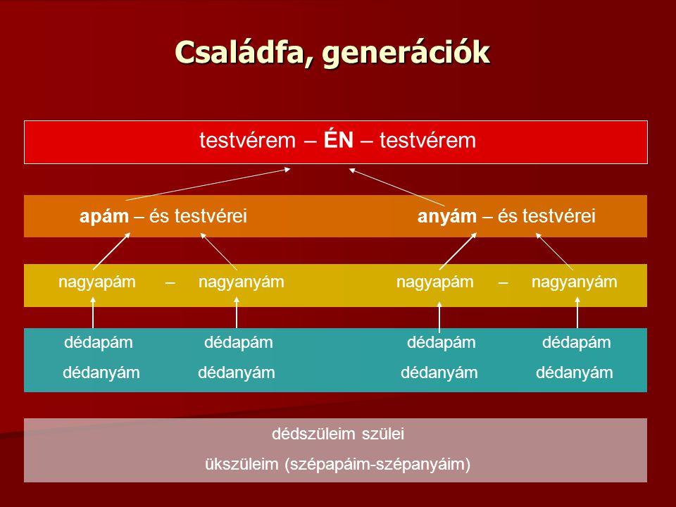 Családfa, generációk testvérem – ÉN – testvérem apám – és testvéreianyám – és testvérei nagyapám – nagyanyámnagyapám – nagyanyám dédapám dédapám dédan
