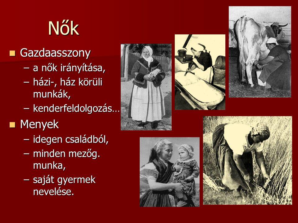 Nők Gazdaasszony Gazdaasszony –a nők irányítása, –házi-, ház körüli munkák, –kenderfeldolgozás… Menyek Menyek –idegen családból, –minden mezőg. munka,
