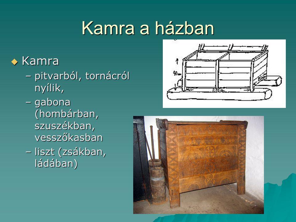 Kamra a házban  Kamra –pitvarból, tornácról nyílik, –gabona (hombárban, szuszékban, vesszőkasban –liszt (zsákban, ládában)