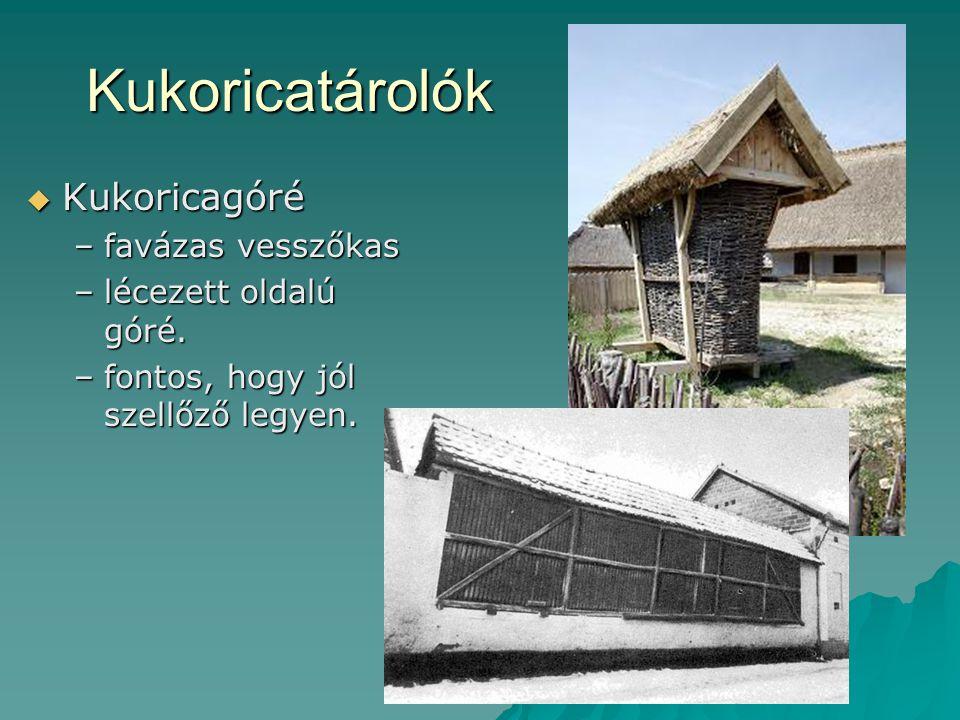 Kástu  Többcélú építmény (ny.- dunántúli)  Kétszintes –emeleten gabona, liszt, húsok, zsír; –földszinten szerszámok, nagyobb eszközök.