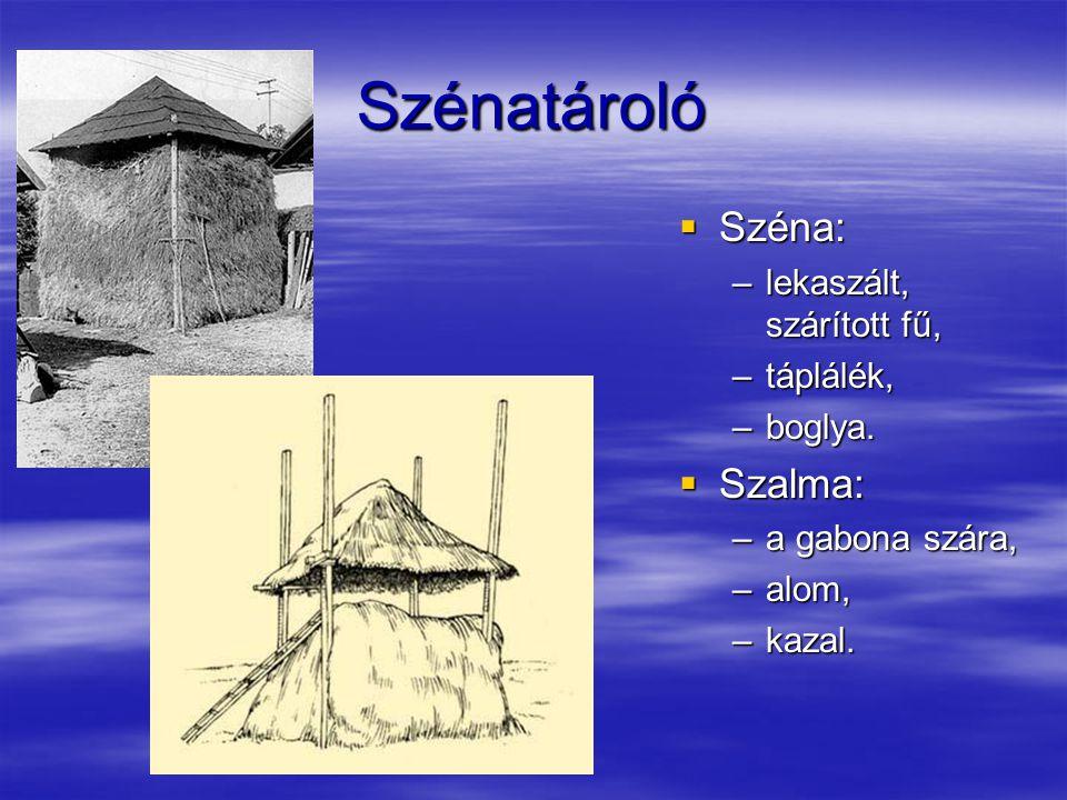 Szénatároló  Széna: –lekaszált, szárított fű, –táplálék, –boglya.  Szalma: –a gabona szára, –alom, –kazal.