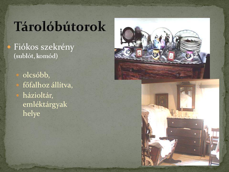 Fiókos szekrény (sublót, komód) olcsóbb, főfalhoz állítva, házioltár, emléktárgyak helye