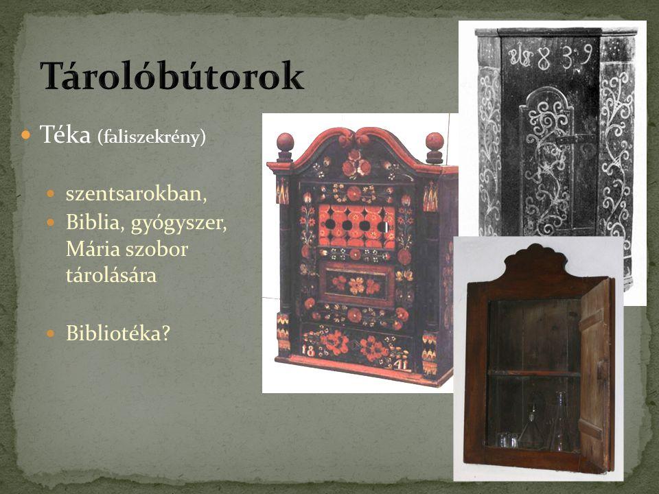 Téka (faliszekrény) szentsarokban, Biblia, gyógyszer, Mária szobor tárolására Bibliotéka?