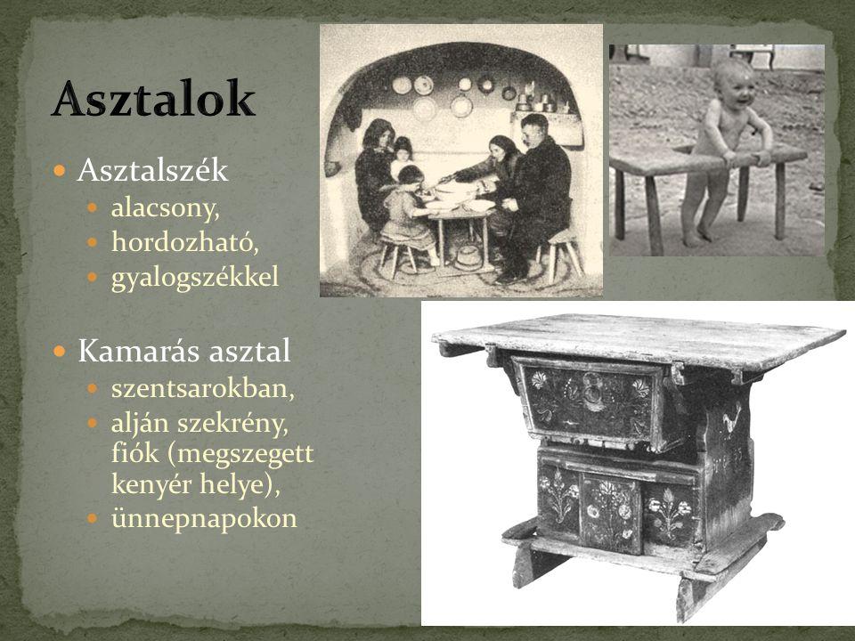 Asztalszék alacsony, hordozható, gyalogszékkel Kamarás asztal szentsarokban, alján szekrény, fiók (megszegett kenyér helye), ünnepnapokon