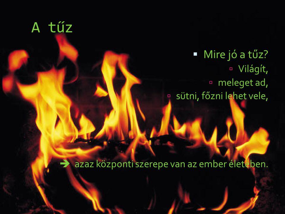 A tűz  Mire jó a tűz?  Világít,  meleget ad,  sütni, főzni lehet vele,  azaz központi szerepe van az ember életében.