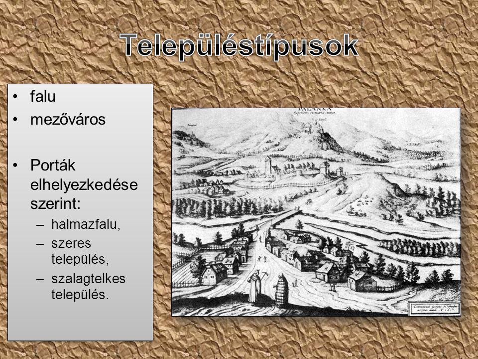 falu mezőváros Porták elhelyezkedése szerint: –halmazfalu, –szeres település, –szalagtelkes település.
