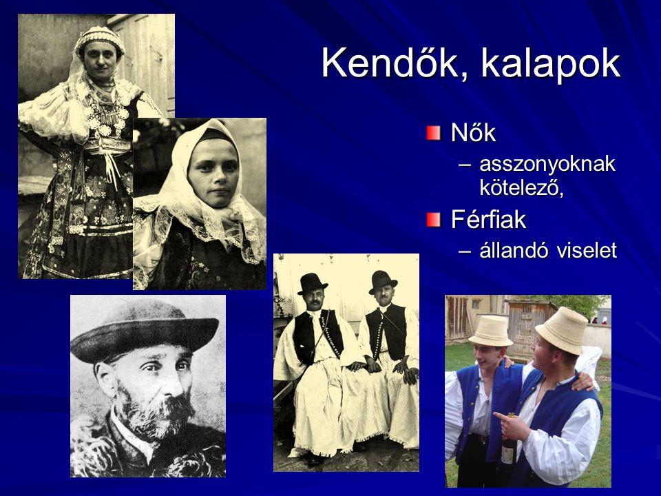 Kendők, kalapok Nők –asszonyoknak kötelező,Férfiak –állandó viselet