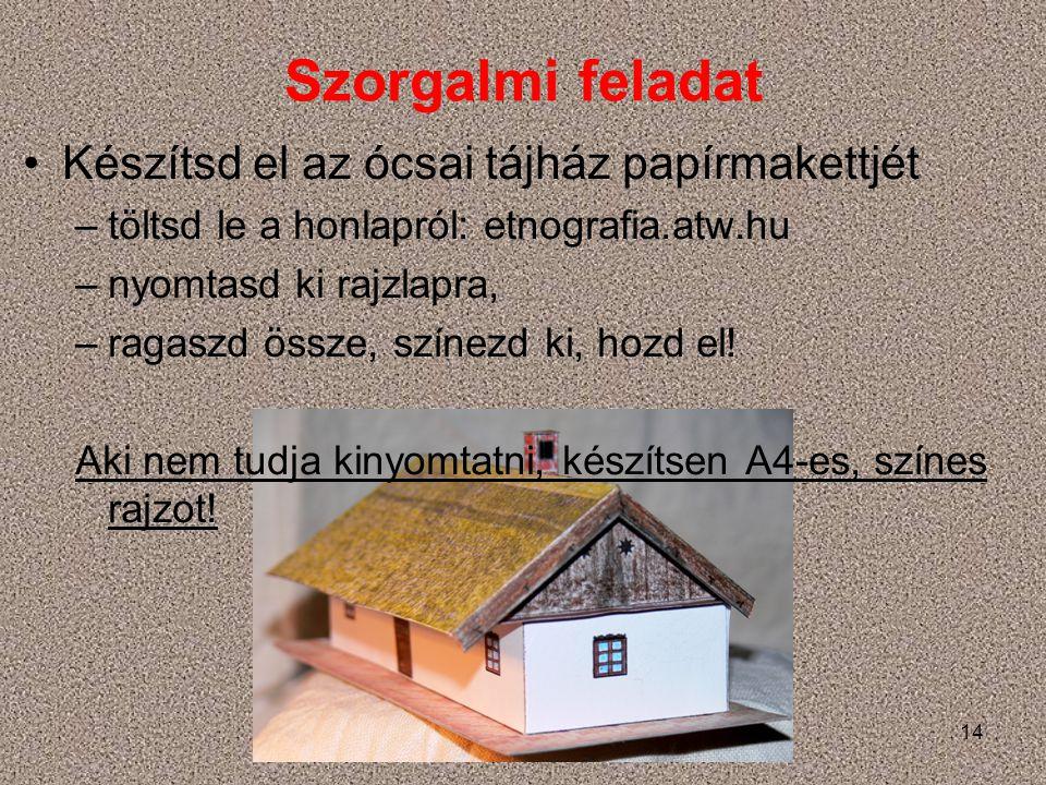 Szorgalmi feladat Készítsd el az ócsai tájház papírmakettjét –töltsd le a honlapról: etnografia.atw.hu –nyomtasd ki rajzlapra, –ragaszd össze, színezd